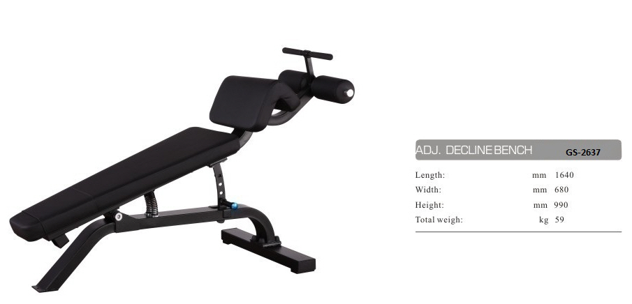 Adjustable Decline/Sit-Up Bench  GS-2637 - 162cm×76cm×81cm 61kg
